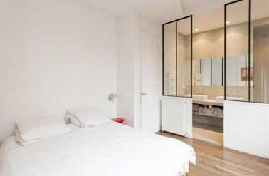 Suite parentale avec une cloison verri re style atelier for Idee chambre parentale avec salle de bain
