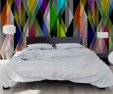 t te de lit originale avec du papier peint graphique. Black Bedroom Furniture Sets. Home Design Ideas