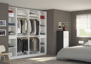 am nager une niche murale avec un grand dressing ouvert. Black Bedroom Furniture Sets. Home Design Ideas