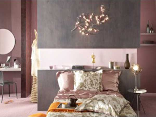 chambre peinte en gris et rose pr l vement d 39 chantillons et une bonne id e de. Black Bedroom Furniture Sets. Home Design Ideas