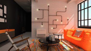 Ce climatiseur Mitsubishi design est intégré à un luminaire fabriqué en tuyaux de cuivre et fixé sur un mur en briques peintes pour un effet déco du tonnerre.
