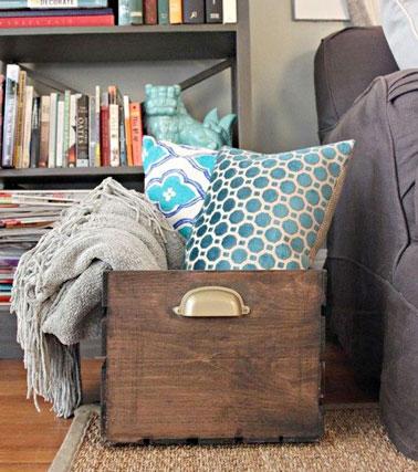 Cr er un meuble de rangement salon avec une caisse en bois - Caisse en bois pour rangement ...
