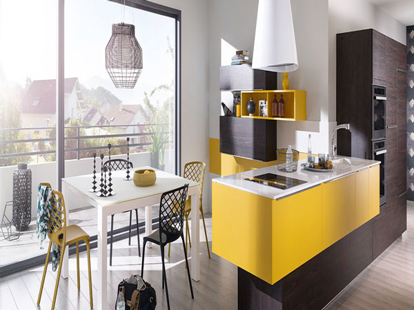 cuisine americaine design avec plan de travail jaune pop. Black Bedroom Furniture Sets. Home Design Ideas