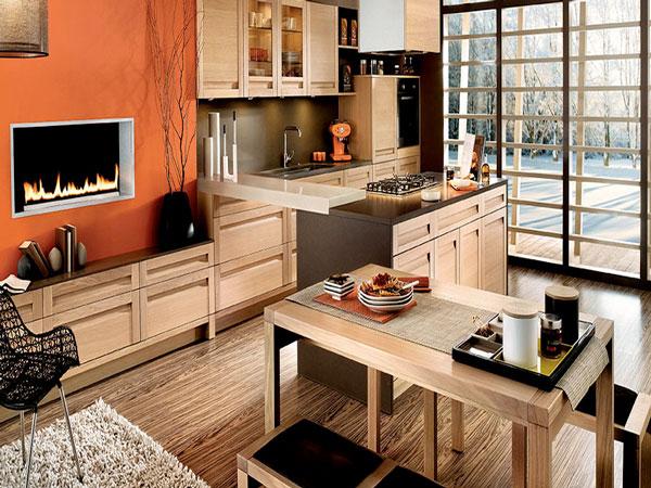 Grande cuisine américaine finition chêne blanchi avec profil prise de main assorti et plan de travail stratifié oxyde cuivre structuré Mobalpa