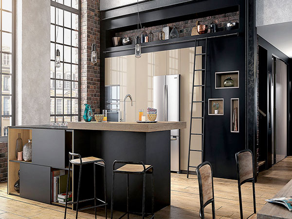 cuisine americaine noir mat style industriel mobalpa. Black Bedroom Furniture Sets. Home Design Ideas