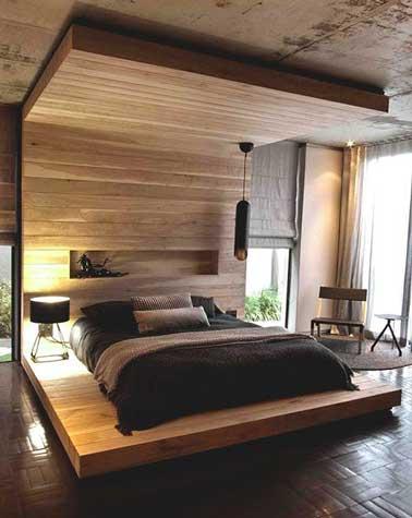 dco chambre adulte cosy d co chambre cosy avec mo loc bois comme baldaquin - Deco Chambre A Coucher Cosy