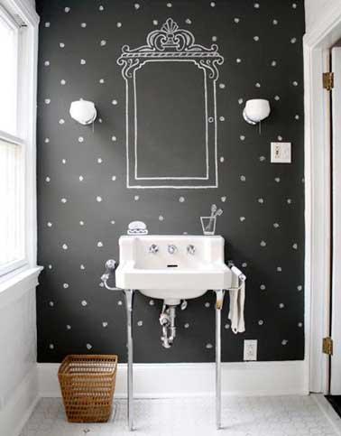 Refaire la déco de ses wc en dessinant des petits motifs et des objets sur une peinture tableau noir. Ici miroir vintage et savon prennent vie au dessus du lavabo en faïence blanc