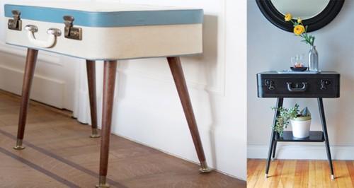 Fabriquer une petite table originale avec une valise de - Fabriquer une table de nuit ...