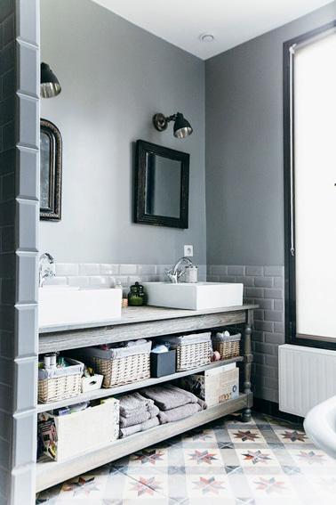 Pour gagner du temps dans la salle de bain le matin, installez un meubledouble vasque. C'est hyper déco et idéal pour utiliser la salle de bain à plusieurs !