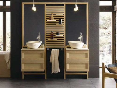 double vasque et meubles en bois dans une salle de bain zen. Black Bedroom Furniture Sets. Home Design Ideas