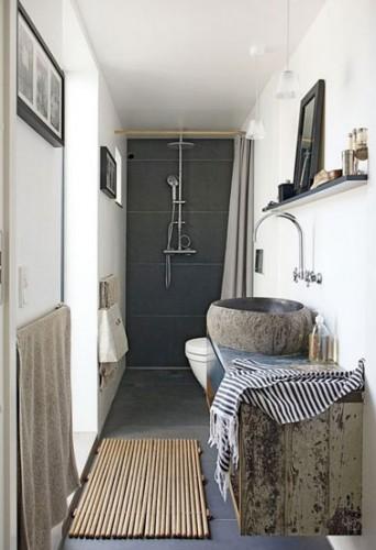 Douche l 39 italienne dans petite salle de bain en longueur - Amenagement salle de bain en longueur ...