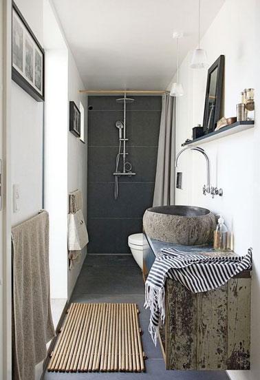 Douche l 39 italienne dans petite salle de bain en longueur for Petite douche a l italienne