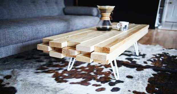 Diy deco fabriquer une table basse trendy pour le salon - Table de salon en bois design ...