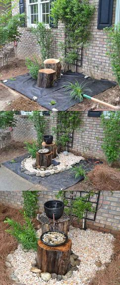 D co jardin avec rondin de bois - Fontaine pour terrasse ...