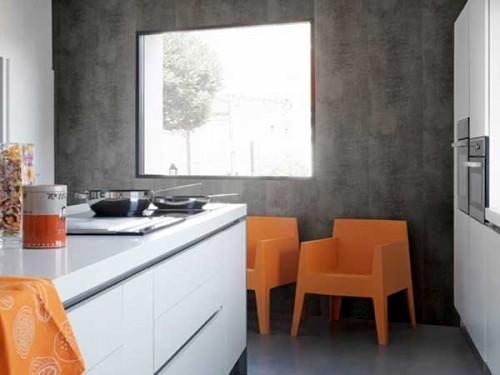 Lambris pvc aspect beton cire dans cuisine ouverte - Lambris pvc cuisine ...