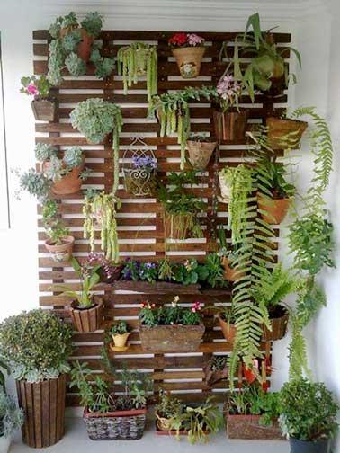 Mur végétal fabriqué avec des planches de palette. Démontées et fixées entre-elle elles sont ensuite vernies. Plantes en pots et jardinières sont fixées avec des crochets