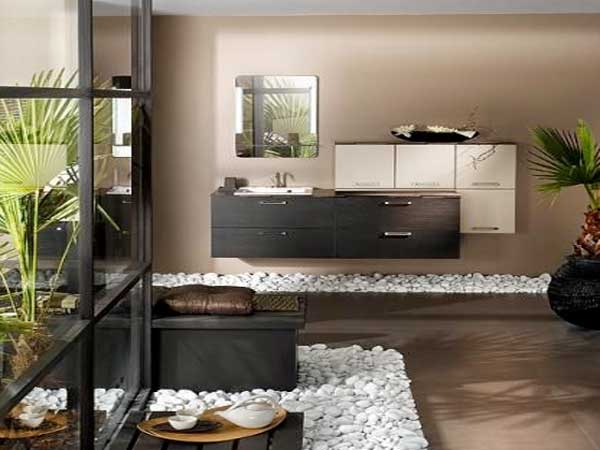 parterre en galets blancs dans une salle de bain zen. Black Bedroom Furniture Sets. Home Design Ideas