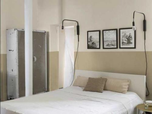 Peinture chambre avec murs lin et tete de lit beige - Peinture chambre beige ...