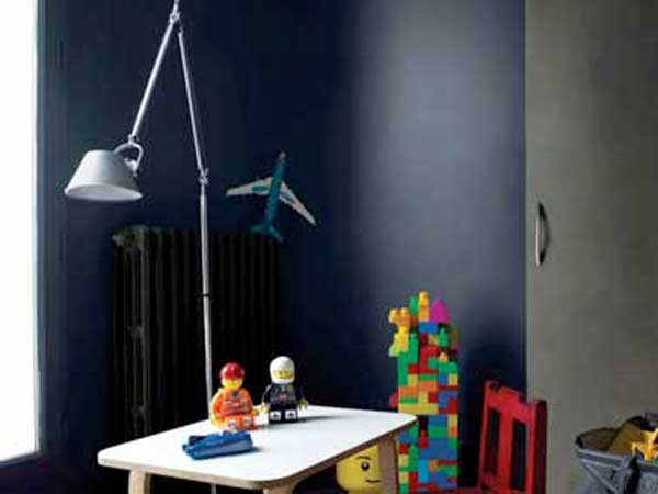 Peinture chambre enfant en deux couleurs gris et bleu nuit - Chambre blanche et bleu ...