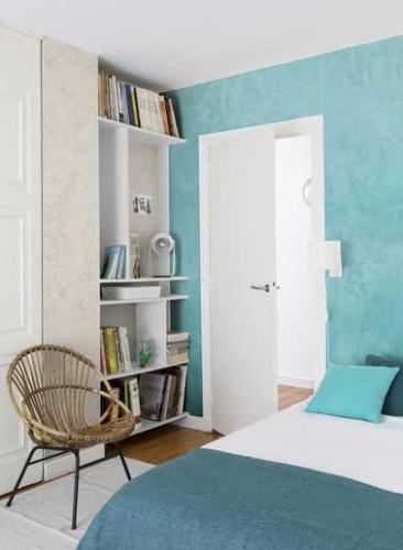 Peinture nacr e turquoise et beige dans une chambre d 39 ado - Peinture dans une chambre ...
