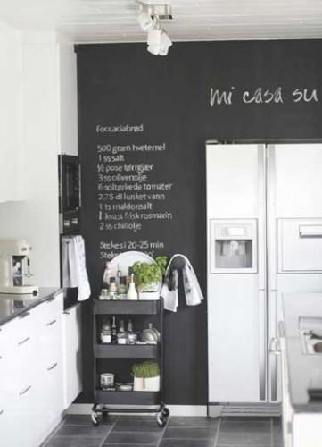 peinture tableau noir pour colorer une cuisine blanche. Black Bedroom Furniture Sets. Home Design Ideas