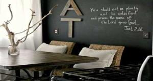 La peinture tableau noir, une peinture pour meuble et murs à la fois. On repeint un meuble, décore les murs, relooke sa cuisine d'un beau tableau noir pour les mémo écris à la craie.