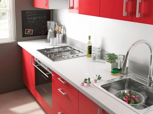Une petite cuisine rouge pratique et pas cher for Petite cuisine amenagee pas cher