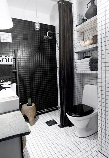 une petite salle de bain d co avec douche italienne. Black Bedroom Furniture Sets. Home Design Ideas