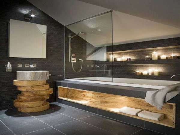 plan vasque en rondins de bois dans salle de bain zen. Black Bedroom Furniture Sets. Home Design Ideas