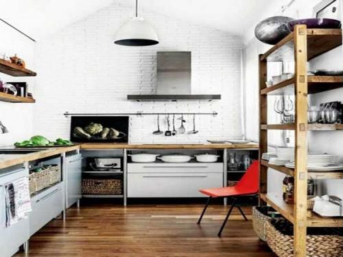 Rangement de cuisine optimise en colonne et etageres - Colonne de rangement cuisine ...