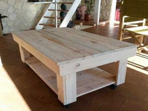 Recuperer des traverses bois pour creer table basse palette - Proteger une table en bois brut ...