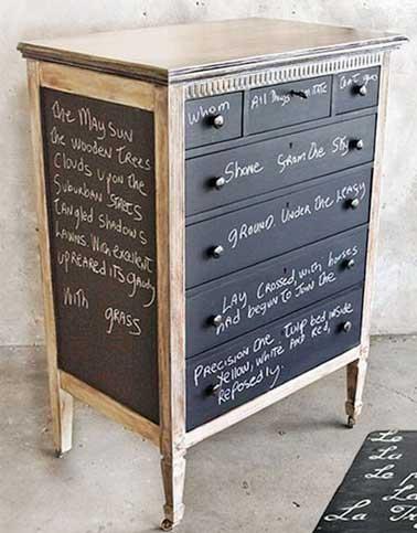Un meuble en bois relooké avec une peinture tableau noir peinte sur les tiroirs et les panneaux. A refaire pour sublimer une entrée ou une commode dans une chambre
