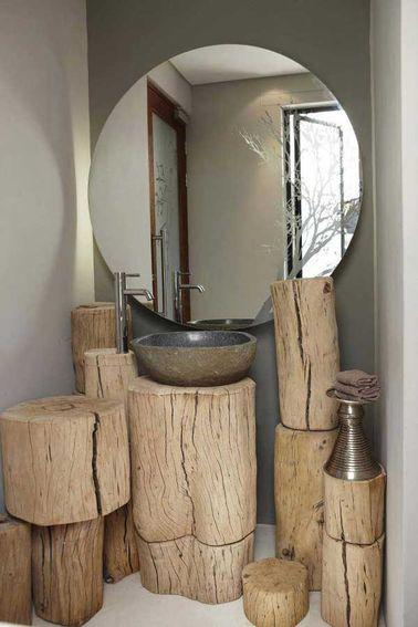 Rondins de bois branches troncs d 39 arbre en d co salle de - Salle de bain deco bois ...