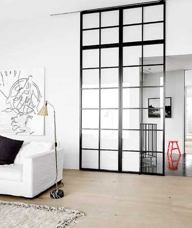 s parer le salon de l 39 entr e avec une verriere int rieure. Black Bedroom Furniture Sets. Home Design Ideas