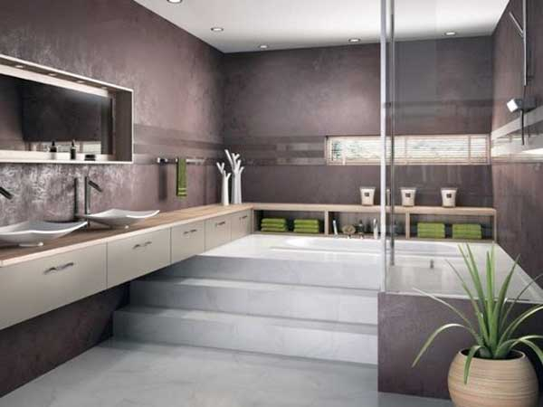sol et estrade en marbre dans une salle de bain zen. Black Bedroom Furniture Sets. Home Design Ideas