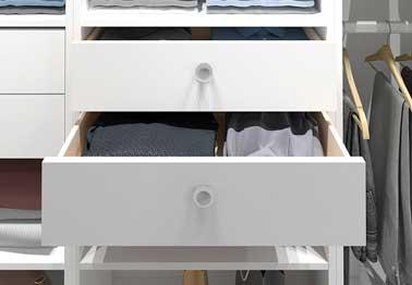 Des tiroirs de dressing entièrement personnalisables aux couleurs et dimensions de vos besoins. Avec amortisseurs et à sortie totale ils organisent le rangement du dressing.