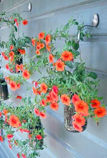 Des pots en verres sont suspendus avec du fil de fer contre des cuillères patères pour former un mur végétal arty. Les plantes colorées contrastent sur le mur métallisé