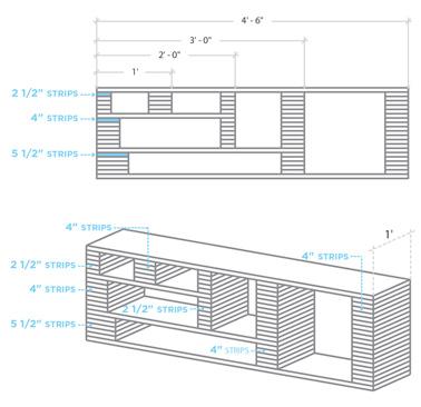 Réalisez un meuble télé hyper original avec des simples planches de bois découpéesen multiples plaquettes de tailles différentes ! Un meuble fait sur mesure pour la déco du salon.