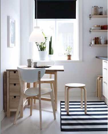 une table de cuisine avec rangement comme coin repas. Black Bedroom Furniture Sets. Home Design Ideas