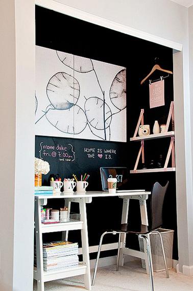am nagement d 39 un bureau dans un petit espace. Black Bedroom Furniture Sets. Home Design Ideas