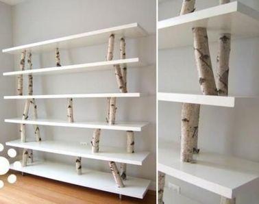 un rangement design pour les livres avec des rondins de bois. Black Bedroom Furniture Sets. Home Design Ideas