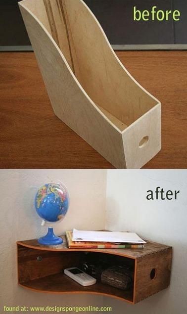La forme du range-revues en bois se prête très bien pour devenir une étagère d'angle dans l'entrée pour ranger clés, téléphone et bibelots déco