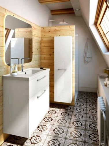 carreaux de ciment et bois les alli s d co pour refaire sa salle de bain. Black Bedroom Furniture Sets. Home Design Ideas