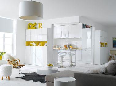 La cuisine blanche confirme son style de d co tendance - Cuisine jaune et blanche ...