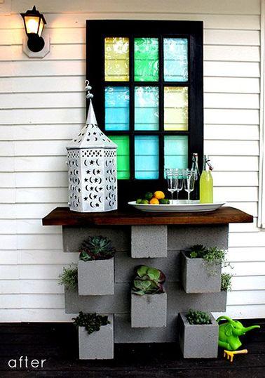 7 id es d co jardin r alis es avec des parpaings. Black Bedroom Furniture Sets. Home Design Ideas