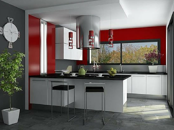 decoration cuisine rouge gris. Black Bedroom Furniture Sets. Home Design Ideas