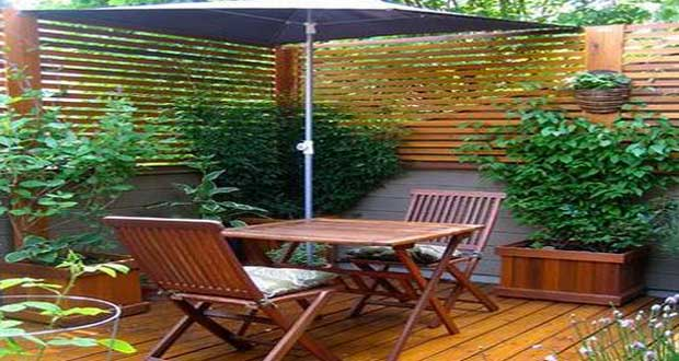 Id e d co terrasse am nagement avec bois et plantes for Idee amenagement terrasse