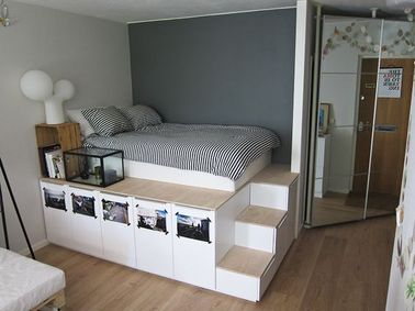 une estrade de lit avec rangement. Black Bedroom Furniture Sets. Home Design Ideas