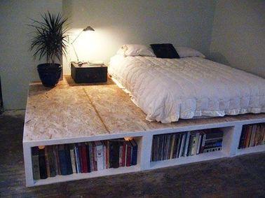 un lit avec rangement sur lev. Black Bedroom Furniture Sets. Home Design Ideas