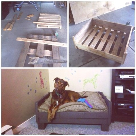 lits pour chien en palette bois r aliser soi m me. Black Bedroom Furniture Sets. Home Design Ideas